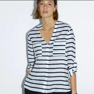 Zara Striped Linen Shirt Small